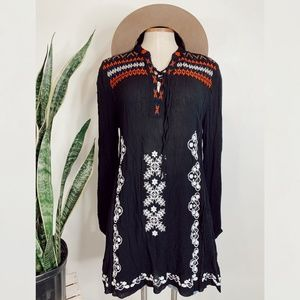 • CHELSEA & THEODORE • black embroidered dress